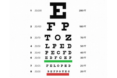 eye chart SVG, vision test PNG, DXF, clipart, EPS, vector cut file