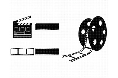 film strip SVG, movie reel PNG, clapperboard DXF, clipart, EPS, vector