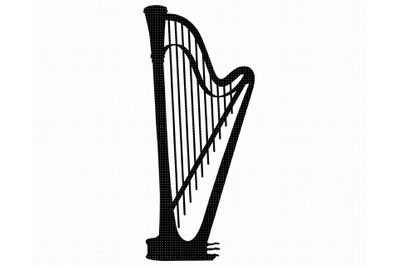 harp SVG, PNG, DXF, clipart, EPS, vector cut file