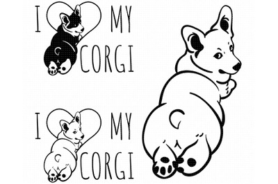 i love my corgi SVG, corgi butt PNG, DXF, clipart, EPS, vector
