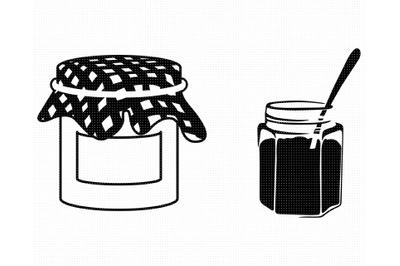 vintage jam jar SVG, strawberry jam PNG, DXF, clipart, EPS, vector
