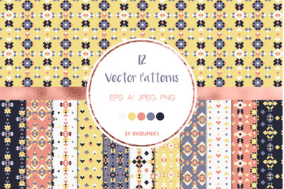 12 Colorful Geometric Tribal Vector Patterns