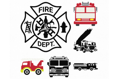 fire truck SVG, maltese cross PNG, DXF, clipart, EPS, vector cut file