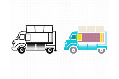 food truck SVG, PNG, DXF, clipart, EPS, vector cut file