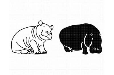 hippo SVG, hippopotamus PNG, DXF, clipart, EPS, vector cut file