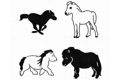 mini horse SVG, miniature horse PNG, DXF, clipart, EPS, vector
