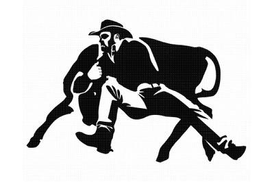 rodeo SVG, steer wrestling PNG, bull DXF, clipart, EPS, vector