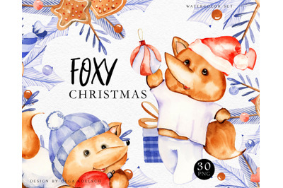 Fox watercolor christmas clipart My first christmas nursery art Cute
