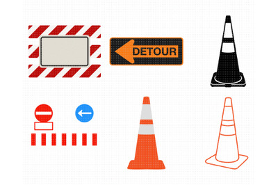 traffic cone SVG, detour PNG, road block DXF, clipart, EPS, vector
