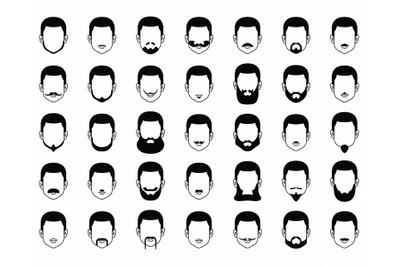men's beard SVG, facial hair PNG, DXF, clipart, EPS, vector