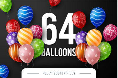 Set of 64 balloons