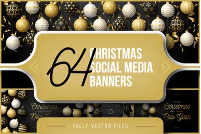 Set of 64 Christmas Social Media Banners