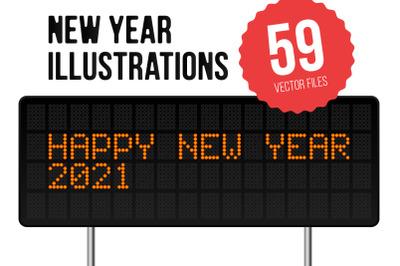 Set of 59 New Year 2021 Illustrations