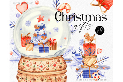 Watercolor christmas snow globe clipart. Christmas gifts cute clipart