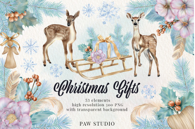 Christmas Gifts Box Deer Flowers Snowflake Clipart New Year Holiday