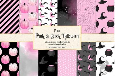 Cute Pink and Black Halloween Digital Paper