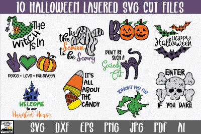 Halloween SVG Bundle with 10 Layered Cut Files