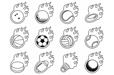 flaming sports balls SVG, football PNG, golf DXF, bowling clipart, EPS