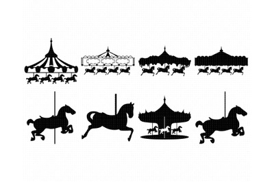 carousel SVG, pony PNG, horse DXF, clipart, EPS, vector