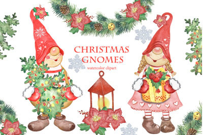 Christmas gnomes clipart. Christmas watercolor clipart. Christmas tree