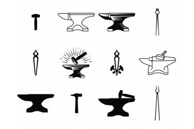 anvil SVG, blacksmith PNG, tongs DXF, hammer clipart, EPS, vector