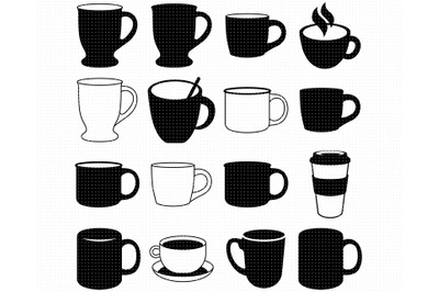 mugs SVG, coffee mug PNG, tea cup DXF, clipart, EPS, vector