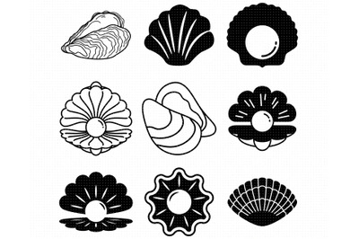 pearl SVG, clam PNG, oyster DXF, clipart, EPS, vector