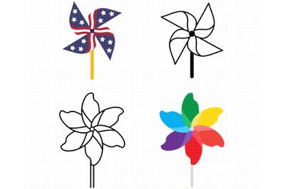 pinwheel SVG, patriotic pinwheel PNG, DXF, clipart, EPS, vector