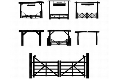 ranch gate SVG, farm entrance PNG, wooden gate DXF, clipart, EPS