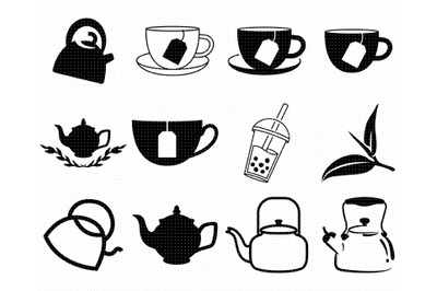 tea leaf SVG, bubble tea PNG, kettle DXF, clipart, EPS, vector