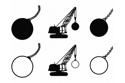 wrecking ball SVG, PNG, DXF, clipart, EPS, vector cut file