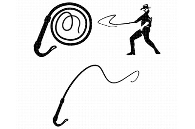 bullwhip SVG, cowboy whip PNG, DXF, clipart, EPS, vector cut file
