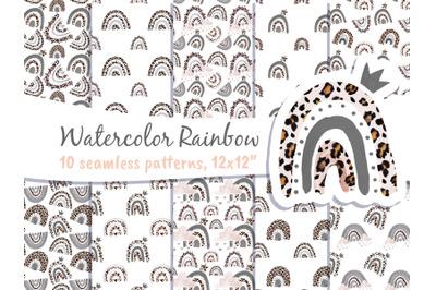Boho Rainbow Leopard Seamless Patterns