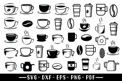 Coffee SVG Bundle, Coffee Cup, Coffee Pot, Coffee Bean SVG