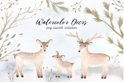 Watercolor Christmas Deers Cliparts