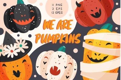 Spooky pumpkins with funny faces. PNG, JPEG, EPS vector.