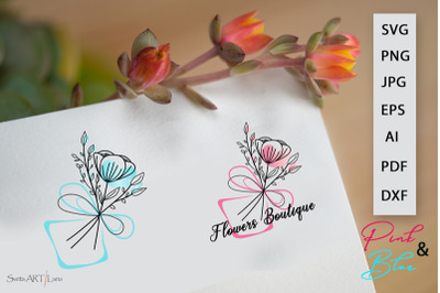 Vector Logo Flowers Bouquet Pink and Blue