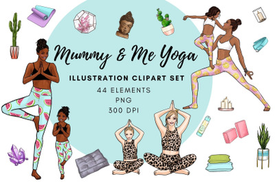 Mummy & Me Yoga Illustration Clipart Set