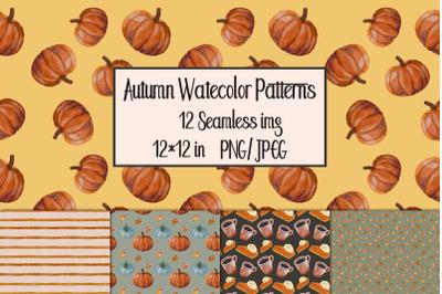 Watercolor Autumn Seamless Patterns