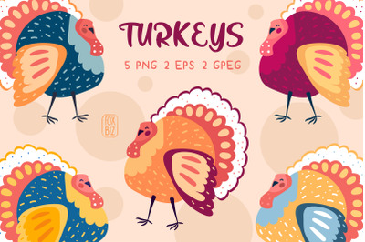 Funny colorful turkeys clip art. PNG, JPEG, EPS vector.