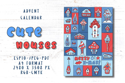 Cute House Vertical Advent Calendar A4 Size