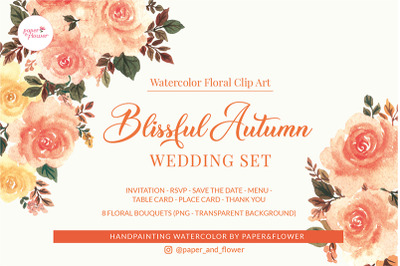 Blissful Autumn Wedding Templates & Floral Bouquet Set
