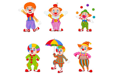 Set of Fourteen Cartoon Clowns Character