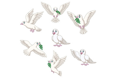 Set of Seven Cartoon Dove Character