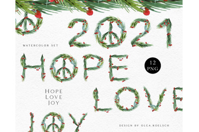 Watercolor new year symbol clipart Hippie peace sign png New year card
