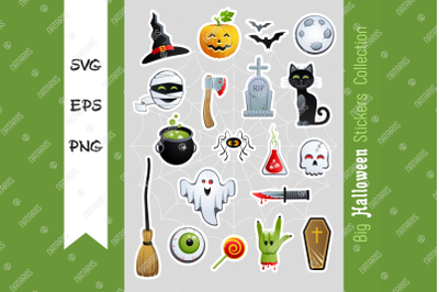 Big collection of Halloween Stickers. 20 Cute cartoon characters and h