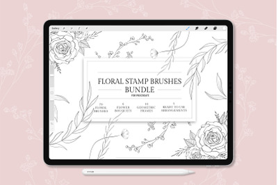 Procreate Stamp Brushes - set of 91 Floral Brushes