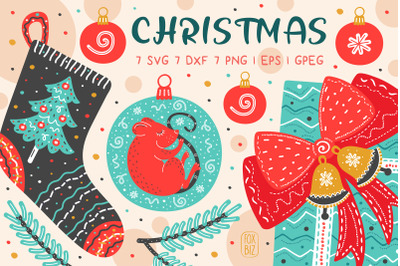 Christmas clip art. New Year illustrations. Svg, Dxf, Png.