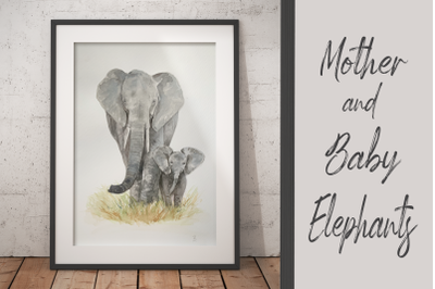 Watercolour Mother and Baby Elephants - Clip Art and Print