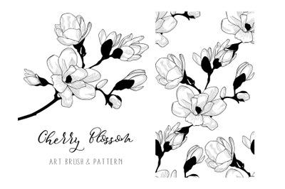 Cherry Blossom. Floral Design Element. Art Brush. Seamless Pattern.